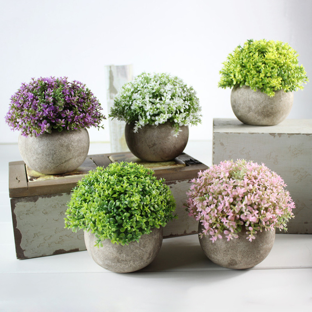 Artificial Plants Vase Set Plastic Plant Bonsai Artificial Flower In Pot  Wedding Home Garden Office Balcony