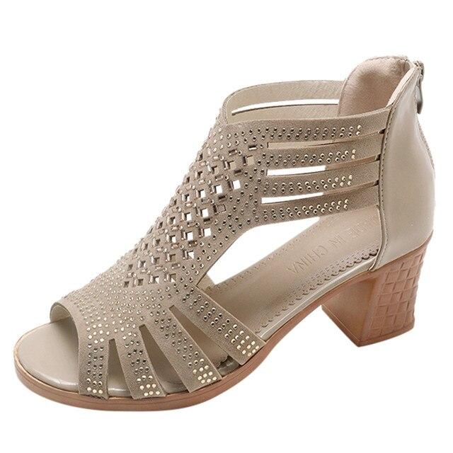 SAGACE Giày Sandal Mùa Xuân Hè Nữ Nữ Nêm Dép Sandal Thời Trang Miệng Cá Rỗng Roma Giày Nữ Giày Nền Tảng Đen 10. DEC.11