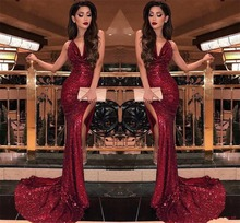2019 Burgundy V Neck Sequins Mermaid Prom Dresses robe de soiree Sexy High Slits Vestido De Festa Formal Evening dress