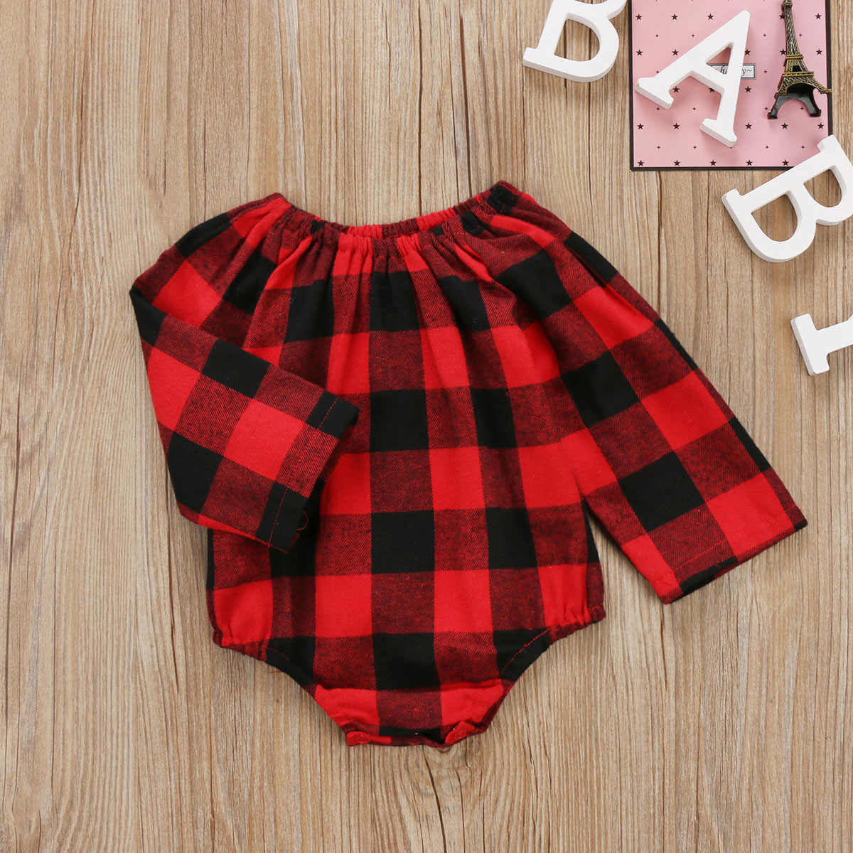 b3849d40d ... Christmas Autumn Toddler Infant Baby Boys Girls Long Sleeve Romper Red  Plaid Jumpsuit Clothes Outfits 0 ...