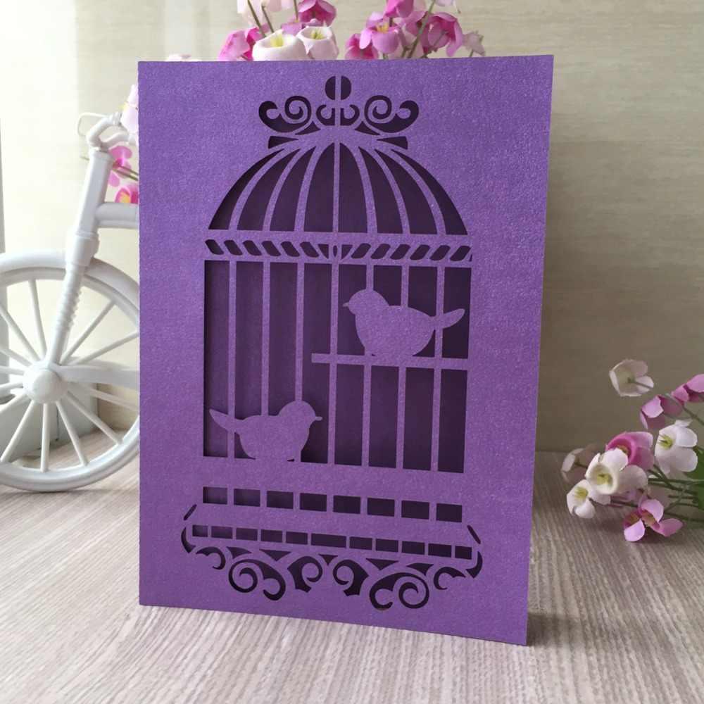 Cartes d'initations de motif de cage à oiseaux sculptées délicates de 50 pcs