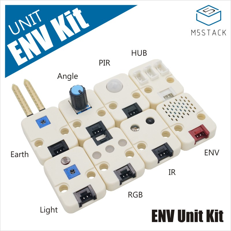 M5Stack New ENV Unit Kit Including 8 Sensor DHT12 Moisture POT PIR HUB Light RGB IR ENV IoT Development Board GROVE Port I2C
