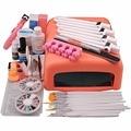 Nueva Pro 36 W Pink UV Lámpara 12 unids Gel ULTRAVIOLETA de Color Top Coat Nail Gel Base primer Nail Art Kit de Herramienta Cortador conjuntos