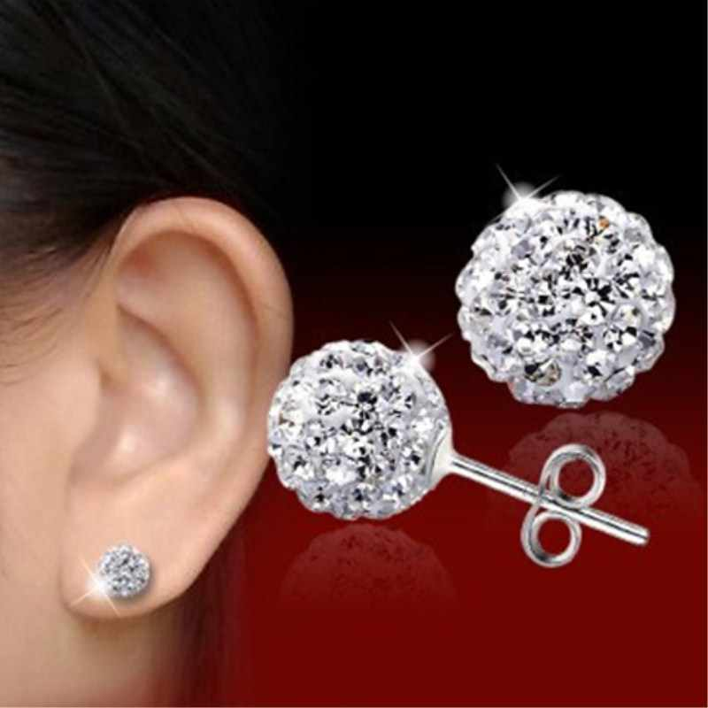 SMTCAT High Quality 10mm 8mm 6mm Clear Austrian Rhinestone Pave Ball Genuine 925 Sterling Silver Stud Earring Brincos de Prata