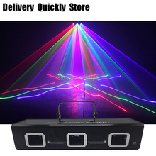 цена на ShowTime  3Lens Beam RGB Line Scanner Disco Laser Good Use For DJ Dance Bar Coffee Xmas Home Party KTV Effect Light System Show