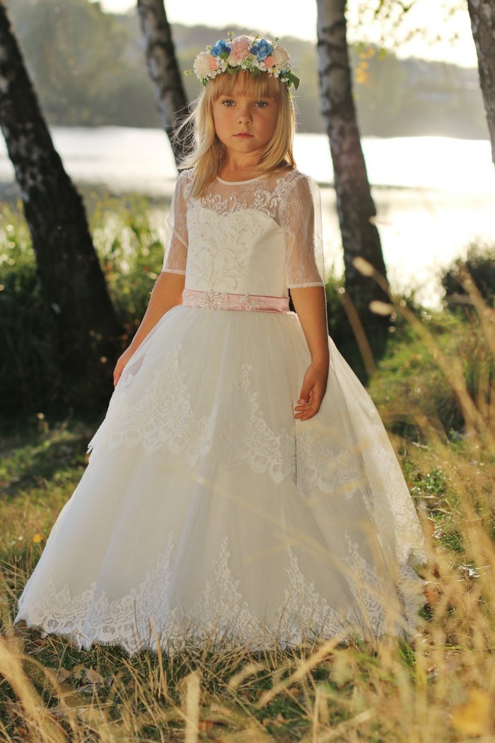 Cute Lovely Little   Flower     girl     Dresses   for Wedding Half sleeve Beautiful Cheap Custom Kids Little   girls     dress   for Children
