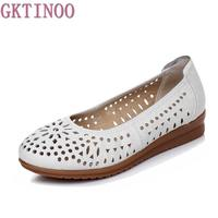 2016 Women Loafers Lady Flat Shoes Woman Summer Flats Hollow Out Comfortable Soft Outsole Genuine Leather