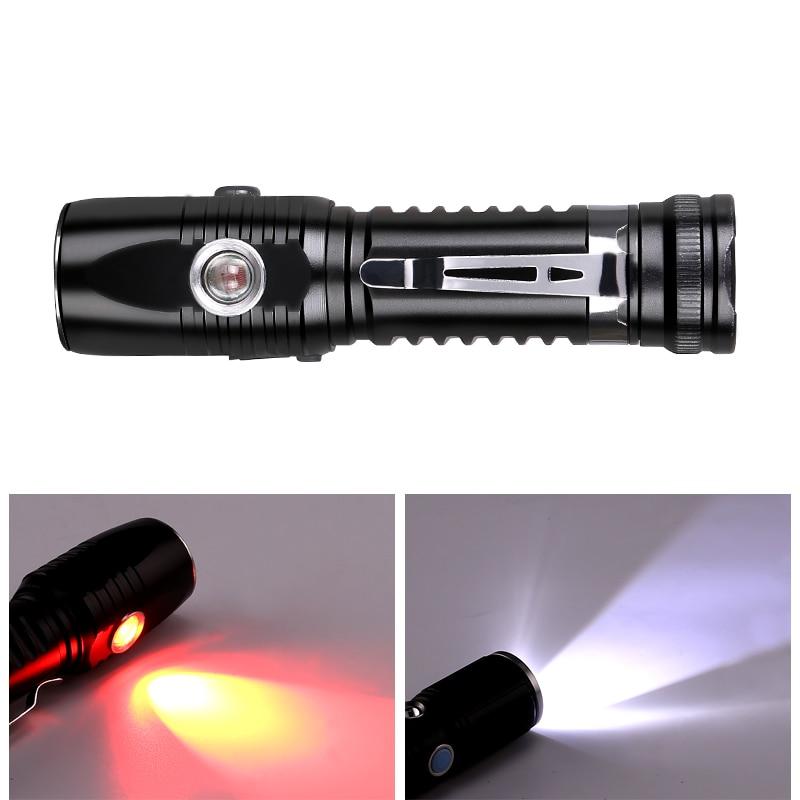 Lampe de poche magnétique Mini 18650 lampe de lampe torche à LED lampe de poche ultraviolette lanterne de vélo lampe torche rouge lampe aimantée
