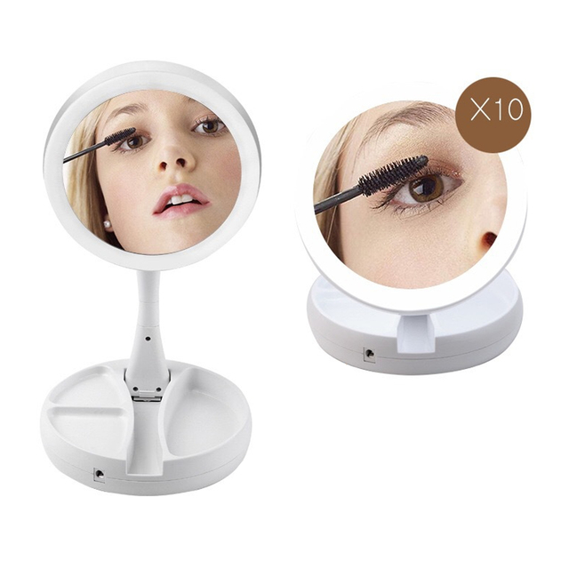 LED Lighted Folding Makeup Mirror 360 Degree 10X Magnifying Mirror With Lights Cosmetic Lighted Makeup Mirror Foldable Mirror 2
