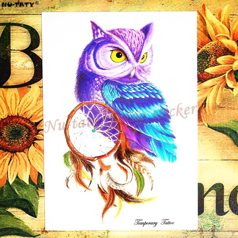 Tattoo Flash Wallpaper By Feathr: Nu TATY Blue Owl Feather Temporary Tattoo Body Art Flash