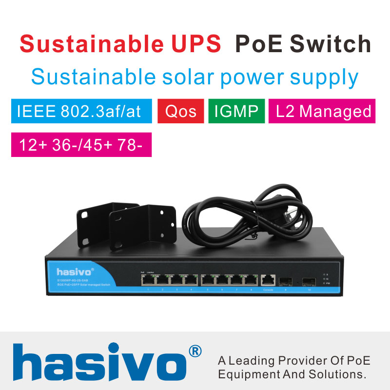 Solar power pos switch Sustainable UPS 8 Port 1000M Gigabit PoE Switch Sustainable solar power supply Managed Switch in Network Switches from Computer Office
