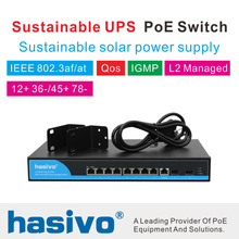 Solar power pos switch Sustainable UPS 8 Port 1000M Gigabit PoE Switch solar supply Managed