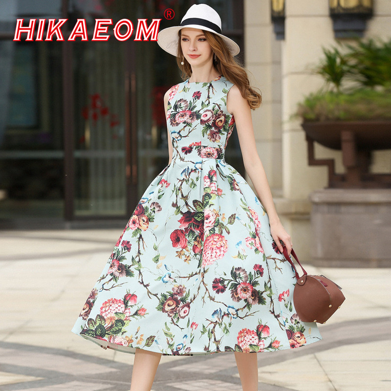 2018 Sleeveless Floral Print Long Dress Elegant O Neck Rushed Pleated Large Swing Flower Beach Sexy