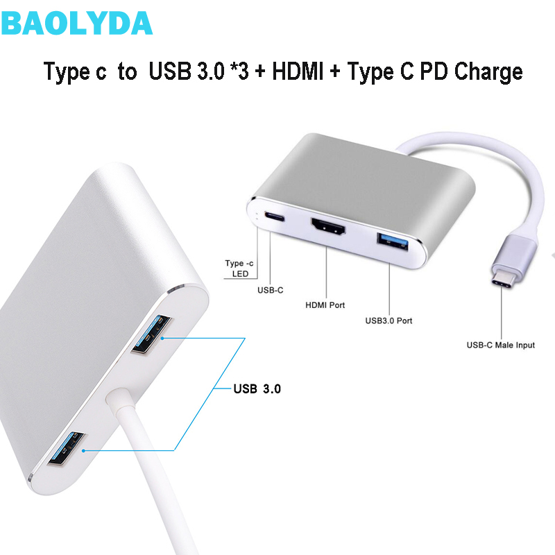 Baolyda USB C Converter 5in1 USB Type C To Multi Hub Thunderbolt Dock HDMI VGA Adapter USB-C To HDMI VGA 4K Converter Adapter