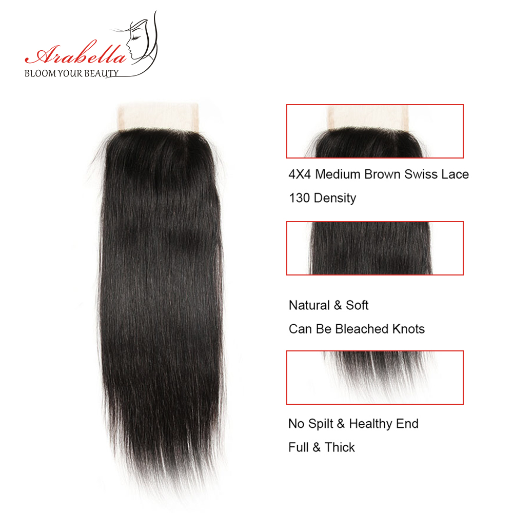 Transparent Lace Closure  Straight 4x4 Closure Straight  Hair 100%  Arabella Pre Plucked Lace Closure 2