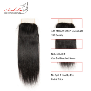 Image 3 - Brazilian Straight Lace Closure 4x4 Lace Closure Straight Remy Hair 100% Human Hair Arabella Pre Plucked Lace Closure