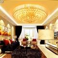 Золотая круглая хрустальная лампа  современная Европейская лампа для гостиной  освещение  оптовая продажа  светодиодный хрустальный потол...