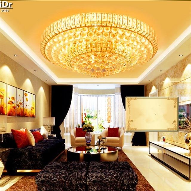 Or rond cristal lampe moderne Europe salon lampes éclairage en gros LED cristal lumière plafonnier Dia850mm luxe lampe