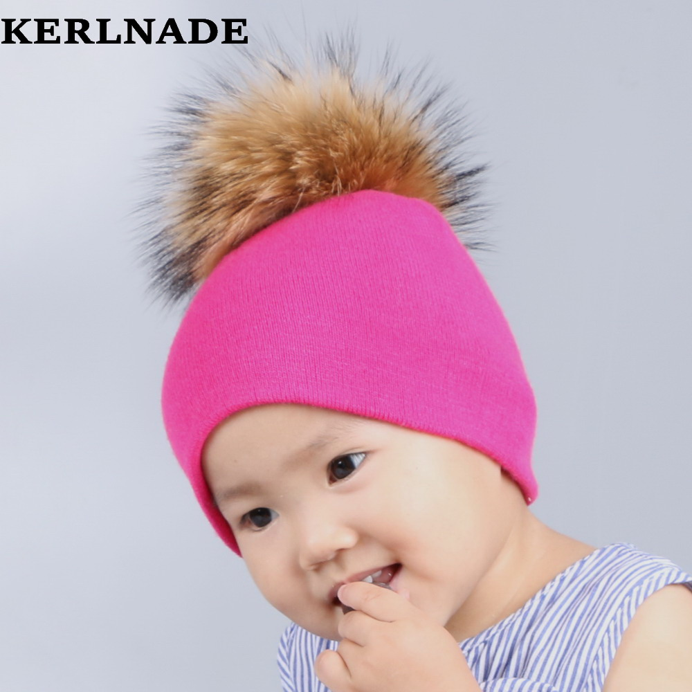 0-2 year old baby winter hat mink pompom brand skullies girl boy casual beanies solid pink fuchsia cotton lovely children gorro