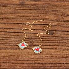 Trendy Red Love Heart Earring Miyuki Glass Beads Handmade Long Ear Line Charm Little Female Girl Jewelry Gift