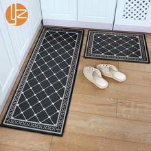 Yazi tapete longo com entrada, lavável, tapete preto engraçado para cozinha, longo, para corredor, tapete de entrada