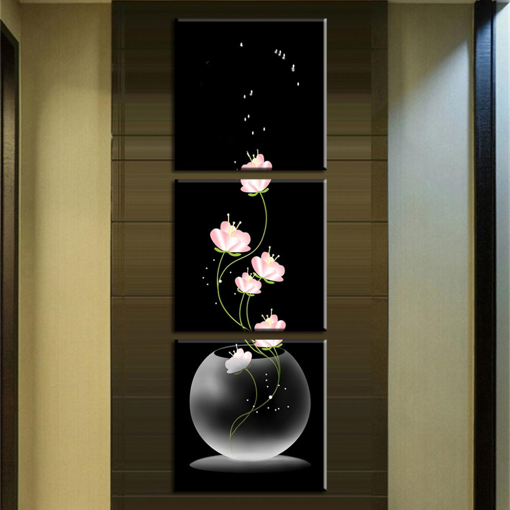 3 Pcs Set Abstract Art Modern Wall Paintings Flowers Porch