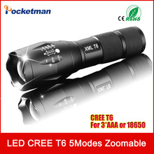 zk35 CREE 3800Lumens E17 XM-L T6 Cree Led Torch Zoomable Cree LED Flashlight Torch Light For 3xAAA or 1×18650 Free Shipping