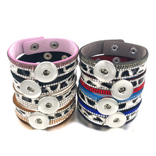 Leopard Fashion Bling 330 Crystal Velvet Leather 18mm Snap Button Charm Bracelet Bangle Jewelry For Women Teenagers Gift