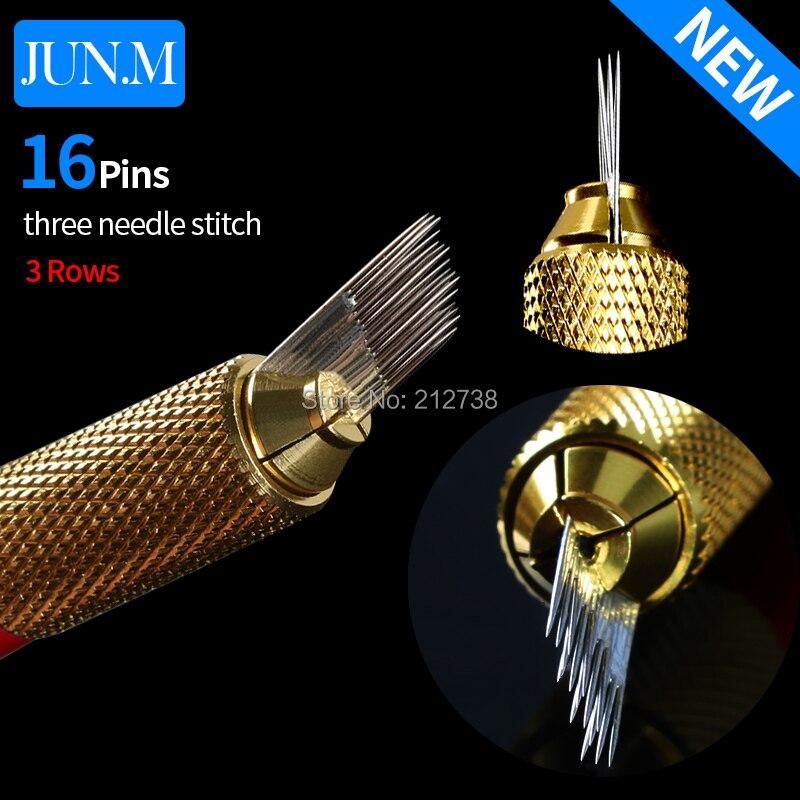 1Box 500Pcs 3 rows Line 16Pin Needle Permanent Eyebrow Makeup Needle Blades For Microblading Pen Manual