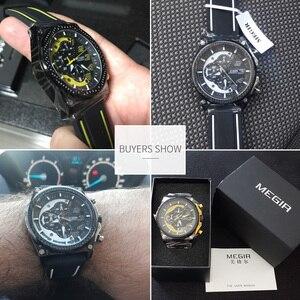 Image 4 - Creative MEGIR הכרונוגרף ספורט שעון גברים סיליקון צבא צבאי יד שעונים שעון גברים למעלה מותג יוקרה Relogio Masculino