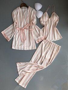 Image 2 - Frauen Pyjamas Set Satin Nachtwäsche 3 Stück Spaghetti Strap Streifen Parttern 2018 Sexy Dessous Seide Pijama Hause Kleidung Pyjama
