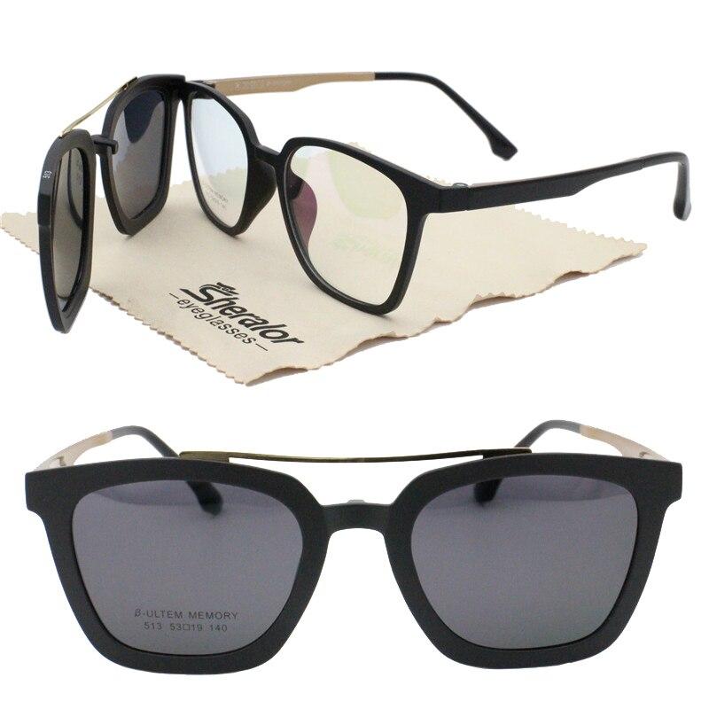 d2e03f21a00f new arrival 513 ULTEM walker shape prescription glasses with megnatic clip  on removable polarized sunglasses lens