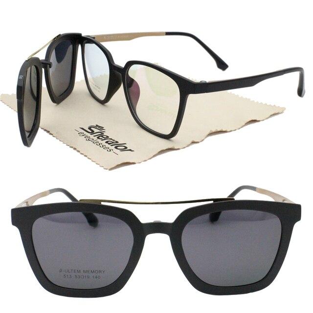 79204cc726 new arrival 513 ULTEM walker shape prescription glasses with megnatic clip  on removable polarized sunglasses lens 2 in 1 eyewear