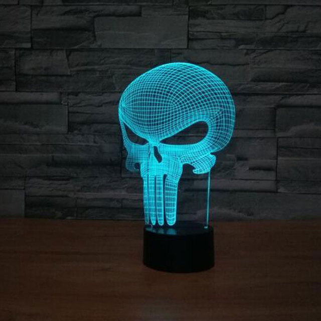 3d led lamp punisher skull multi colored bulbing light. Black Bedroom Furniture Sets. Home Design Ideas