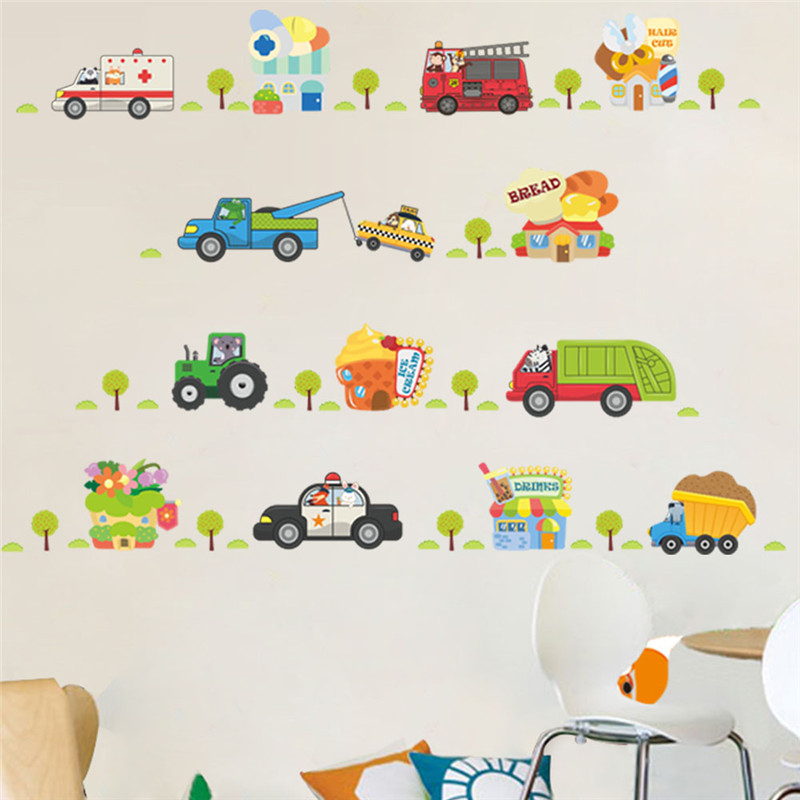 Cartoon  Car Wall Decor Decals For Boys Bedroom Kids Room Car Poster Mural Wall Stickers-in Wall Stickers from Home & Garden on Aliexpress.com | Alibaba Group