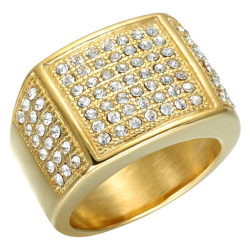 Хип-хоп кольца для Для мужчин модные square Ring Для мужчин хип-хоп кольца хип-хоп ювелирные изделия позолота кольцо из нержавеющей стали Для муж...