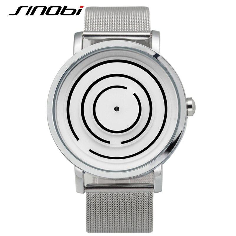 SINOBI Top Brand Luxury Watch Men Stainless Steel Mesh Strap Relojes Hombre 2016 Fashion Relogio Masculino