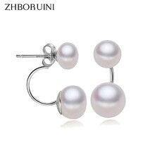 2015 Fashion Pearl Earrings For Women Jewelry Of Silver Oblate Double Wedding