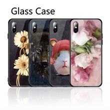 case on hayon 6 s Glass Case For iPhone X XS Max 7 8 6s Plus Animal Painted Cover Silicon Coque