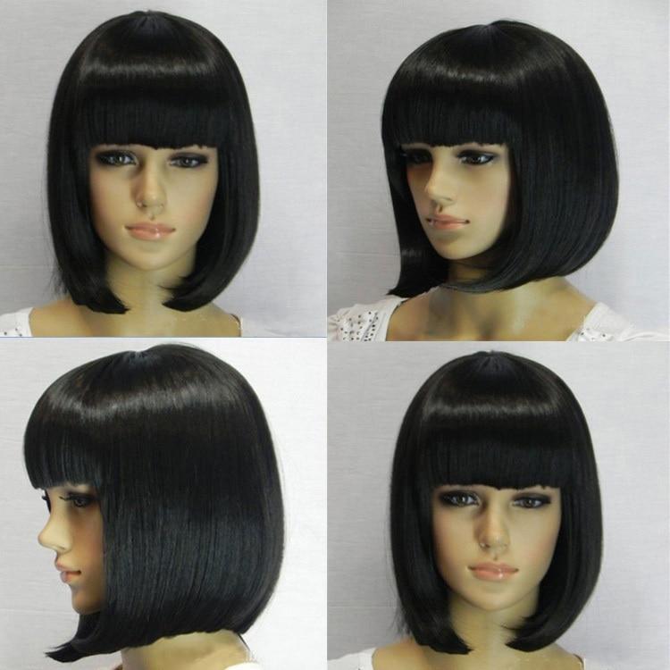 2015 new arrival black short bob wigs  Heat Resistant cute black short bob wigs with bangs