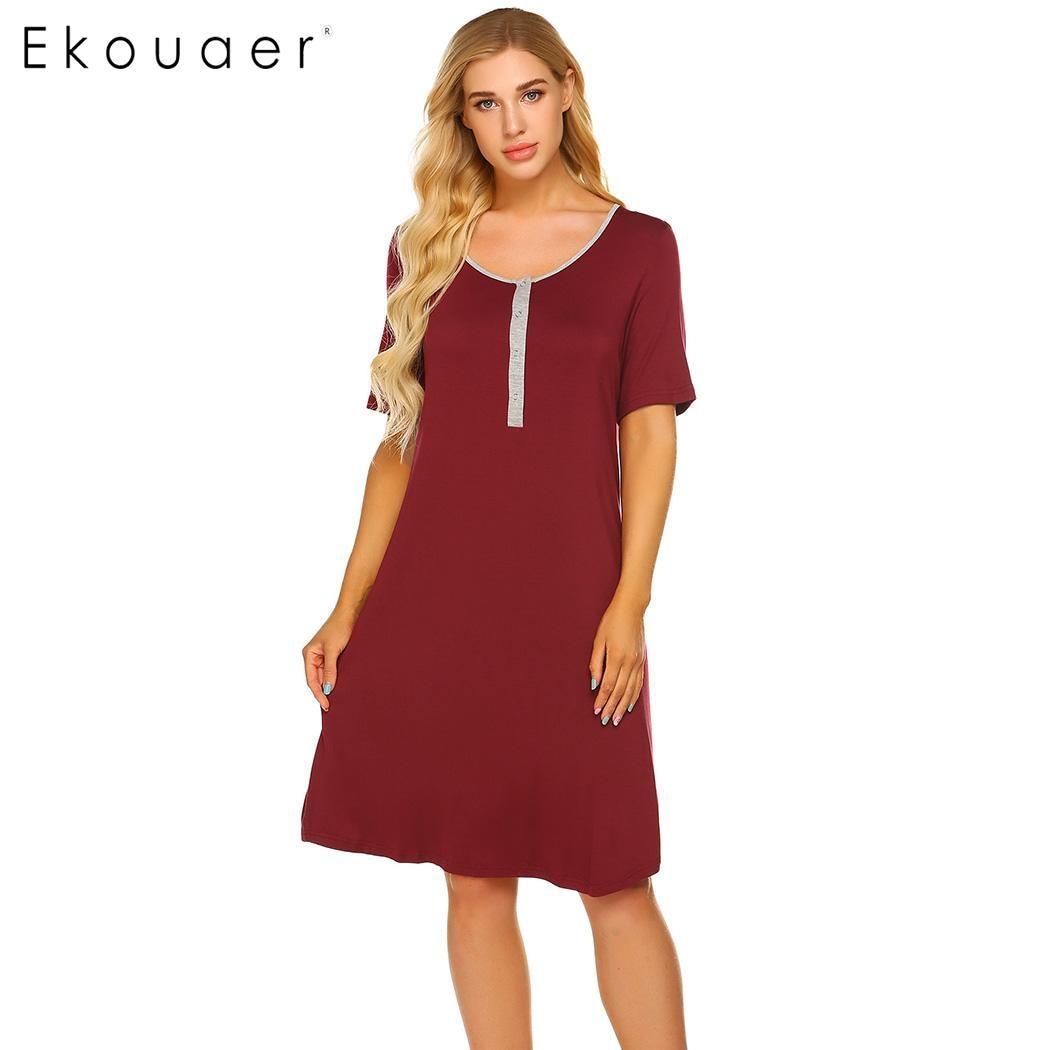 Ekouaer Summer Nightdress Casual Sleepwear Short Sleeve O-Neck Button Breastfeeding Maternity   Nightgown   Women Chemise   Sleepshirt