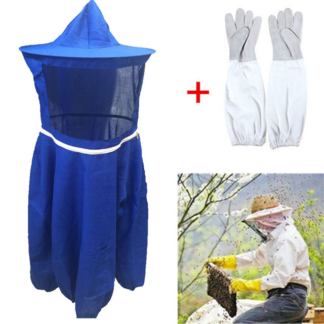 Beekeeping Jacket Veil Camouflage Anti-bee Protective Safety Clothing Smock Equipment +1 Pair Beekeeping Long Sleeve Gloves