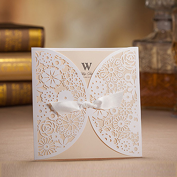 Butterfly knot style Wedding invitation Card, European Classic White ...