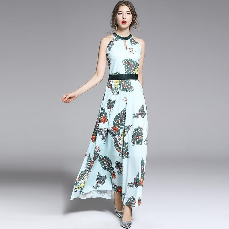 Fashion runways women 39 s sleeveless dress Chic runways elegant beach style dress floral print women 39 s maxi dress A305 in Dresses from Women 39 s Clothing
