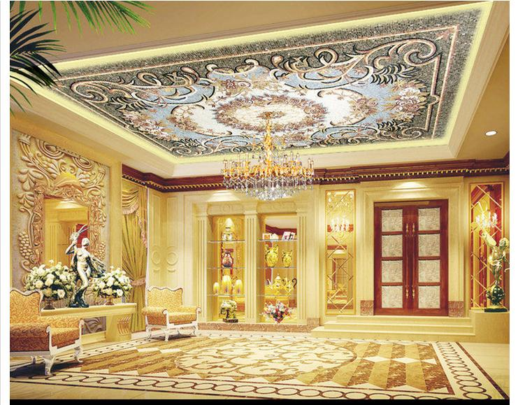 Us 12 21 45 Off Customized 3d Photo Wallpaper 3d Ceiling Wallpaper Murals Ceiling Ceiling Spelling A Flower Design Home Decoration In Wallpapers