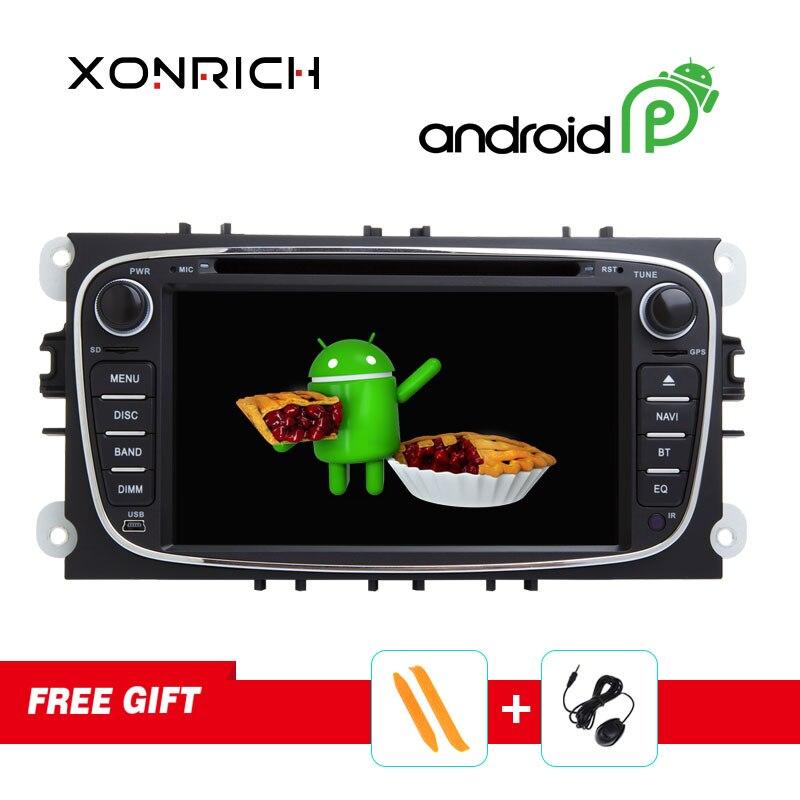 Xonrich Autoradio 2 Din Android lecteur DVD stéréo GPS Navi pour FORD/Focus/Mondeo/S-MAX/C-MAX/unité de tête de galaxie Quad Core DSP