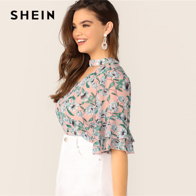 SHEIN Plus Size V-Cut Choker Floral Print Butterfly Sleeve Top Blouse 2019 Women Summer Casual Keyhole Half Sleeve Blouses 1