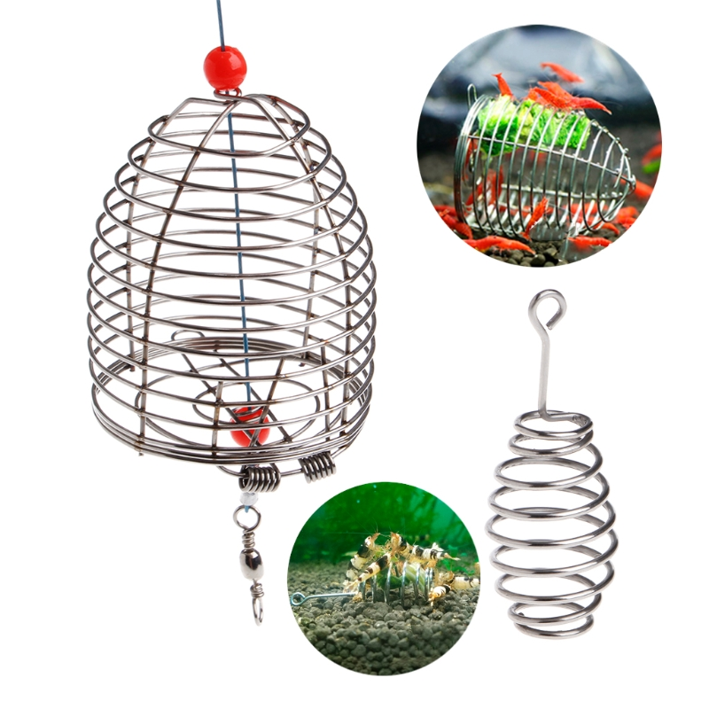 Aquarium Shrimp Small Bait Feeder Dry Spinach Feeding Stainless Steel Cage S/L Fish Shrimp Feeders