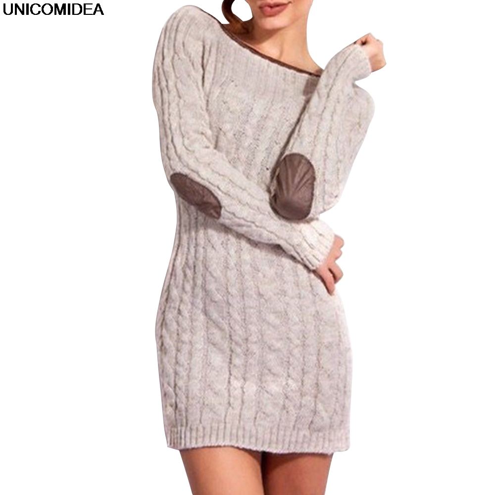 Women Knitting Sweater Dress Long Sleeve Autumn Winter Slim Fit Bodycon Pencil Dress Casual Work Office Sweater knitted Dress rqueena new arrival double v neck bodycon pencil dress 2017 fashion autumn winter women casual long knitted sweater dress women