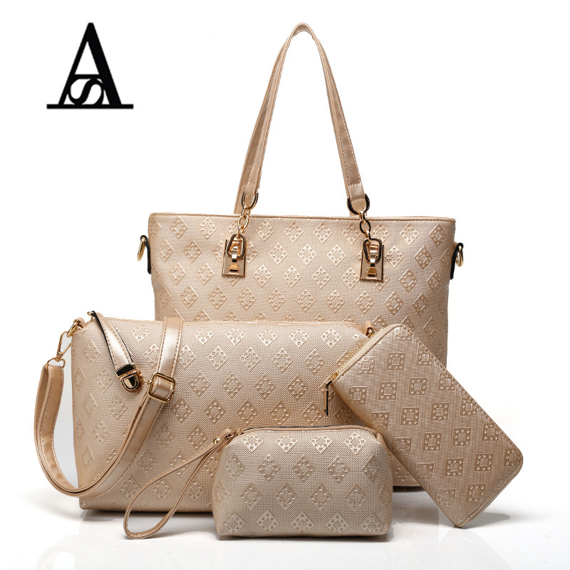 Aitesen New Lady Purses Tote Bags Plaid Printing Shoulder Bag For Women 4 piece Set Bolsas Femininas Michael Handbags Sac A Main handbags women trapeze bolsas femininas sac lovely monkey pendant star sequins embroidery pearls bags pink black shoulder bag